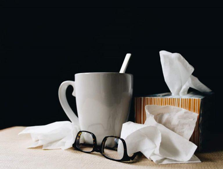 Glasses, tissues and a coffee mug.